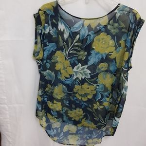 CATO Sheer Over Blouse Floral Sz2X